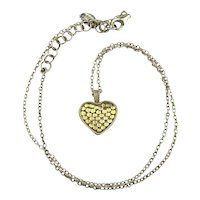 Anna Beck Reversible Heart Necklace Gold on Sterling