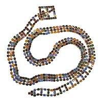 Vintage Multi Color Rhinestone Belt Necklace