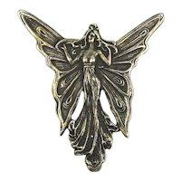 Art Nouveau Revival 900 Silver Fairy Angel Pin Pendant