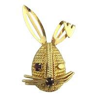 Vintage Sarah Cov Flirting Rabbit Pin Brooch