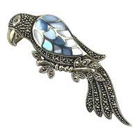Ultra Sterling Silver Parrot Bird Pin Brooch - Marcasite Blue MOP Wing