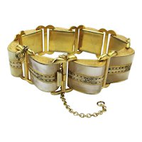 Art Deco Bracelet Mother-of-Pearl Enamel SLOPE Links
