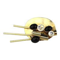 Modernist Jeweled Goldtone Art Palette Pin Brooch