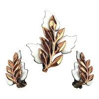 Matisse Enamel on Copper Frond Pin Brooch Earrings Set