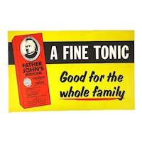 Old FATHER JOHN'S Tonic Medicine Cardboard Sign Drug Store Counter