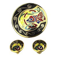 Colorful Enamel Pin / Pendant Clip Earrings Set Cryptic Graphics