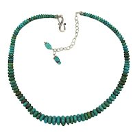 Genuine Turquoise Bead Necklace w/ Sterling Silver