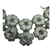 Joan Rivers Glowing Charcoal Lucite Flowers Necklace
