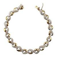 Gilded Sterling Silver Tennis Style Bracelet