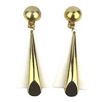 Modernist Long Drop Lucite Goldtone Clip Earrings