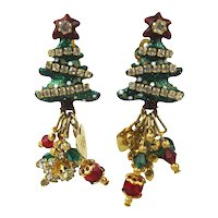 Vintage Lunch at the Ritz Christmas Tree Clip Earrings LATR