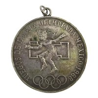 1968 Mexico 25 Pesos Juegos De La XIX Olympics Ley 0.720 Silver Coin Pendant