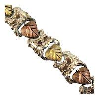 Coleman Sterling Silver 12K Black Hills Gold Leaves Bracelet