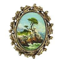 Vintage Jane Blunk Painting Pin Pendant Monterey Calif.