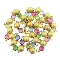 Austrian Colored Crystals w/ Gilded Moon Beads - Long Great Necklace