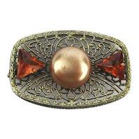 c1930 Art Deco Sterling Silver Gold Vermeil Pin Brooch Jeweled Filigree