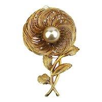 CASTLECLIFF Goldplate Pin Brooch - Wired Flower w/ Big Faux Pearl