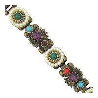Signed Jeweled SELINI Link Bracelet
