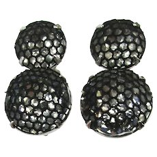 Vintage KRAMER Clip Earrings Wearing Black Mesh Stockings