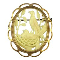 SOLD TO P.A. - 1920s French Celluloid Carved Bird Pin Brooch Depose France