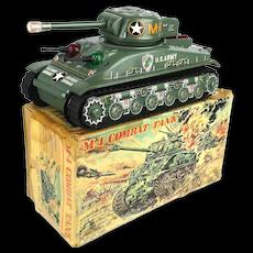Vintage Taiyo M-4 U.S. Army Combat Tank Battery Op Tin Litho