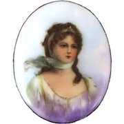 Large Victorian Hand-Painted Pin Brooch Queen Louise of Prussia