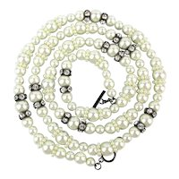 Long Givenchy Necklace Faux Pearls Crystal Rhinestones So Versatile