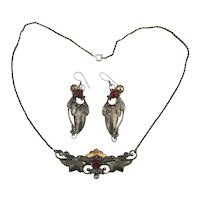 Art Nouveau 925 Sterling Silver Necklace Earrings Set