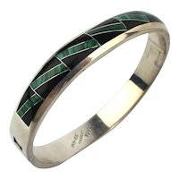 Mexican 950 Silver Hinged Bangle Bracelet Inlaid Stones