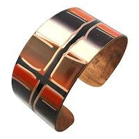 Modernist Enamel Copper Cuff Bracelet Signed CHILE