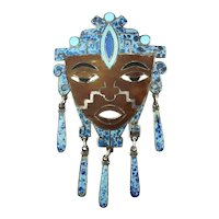 Mexican JL Inlaid Sterling Silver Crushed Stone FACE Pin Pendant