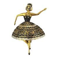 Figural Tippy Toe BALLERINA Damascene Pin Brooch