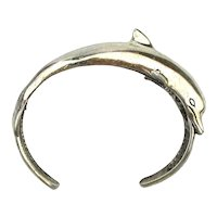 Big Jumping Dolphin Sterling Silver Cuff Bracelet for Small Wrist