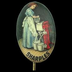 Antique SHARPLES Cream Separator Celluloid Advertising Stick Pin