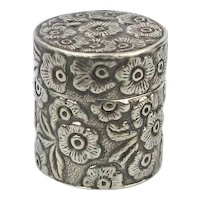 REO Sterling Silver Flower Covered Pill Box Pendant