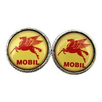 Vintage MOBIL Pegasus Flying Red Horse Cufflinks