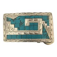 Southwest 925 Sterling Silver Turquoise Inlay Belt Buckle