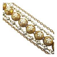 Signed ART Faux Pearl Goldtone Chains Bracelet