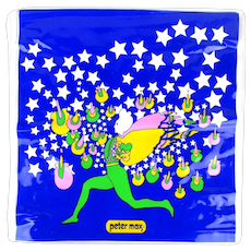 1960s PETER MAX Psychedelic Vinyl Blow Up Pillow Butterfly Man