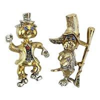 Vintage Signed ART Two Guys Figural Pins w/ Rhinestones