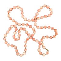 Long 35 Inch Angel Skin Coral Bead Necklace 14K Gold Accents