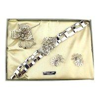 Vintage CHAPPELLE Rhodium Plate Jewelry Set in Original Box