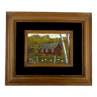 G. Von Trier Original Artist Framed Painting Red Cabin w/ Outhouse