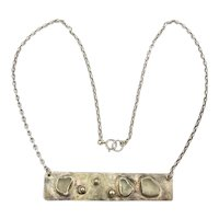 Sterling Silver Strip of the Moon Modernist Necklace
