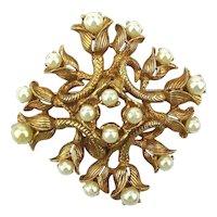 Vintage HOBE Pearl Tipped Flowers Pin Brooch