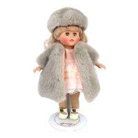 Vintage Vogue Ginny Doll Faux Fur Coat Hat Pink Dress Metal Stand