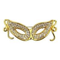 Masquerade Crystal Rhinestone Mask Pin Brooch Cat Eyes