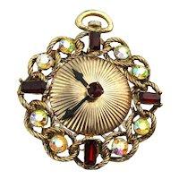 Big Rhinestone Pocket Watch Face Pin Brooch Pendant Clock