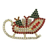 Rhinestone Sled Pin Full of Christmas Presents For You