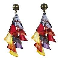 Mod Lucite Multi-Color Angled Dangle Earrings